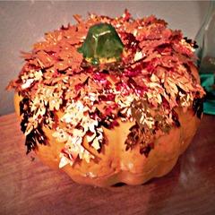 copper leaf pumpkin square