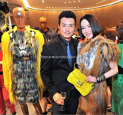 FANN WONG FENDI BAGUETTE Gialla yellow BAGS BOOK LIMITED RE-EDITION Fall Winter 2012 2013 fur coat rtw collection accessories bracelet shoes dress FENDI celebrities Christopher Lee Singapore flagship store opening Ngee ann city