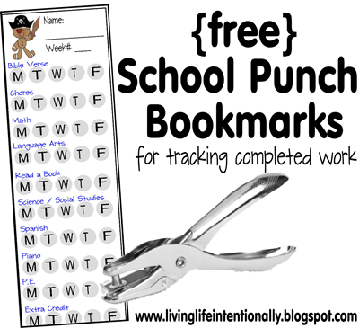 FREE School Punch Bookmarks - these free printable to do list for homeschoolers are a fun way for kids to keep track of chores, school subjects they finish, and more