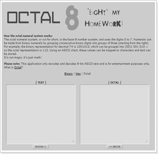 OCTAL 'Eight' my homework!