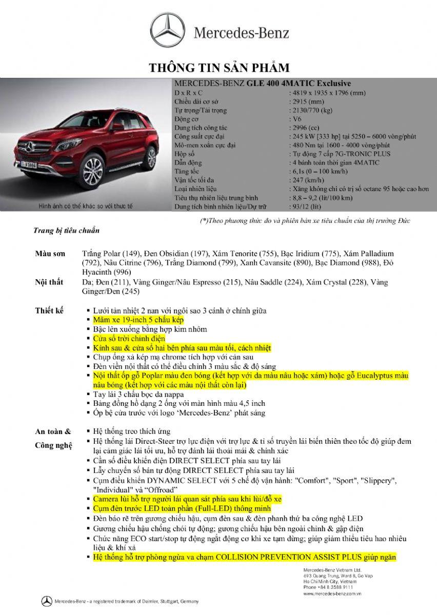 Thông số kỹ thuật xe Mercedes GLE 400 Exclusive 01