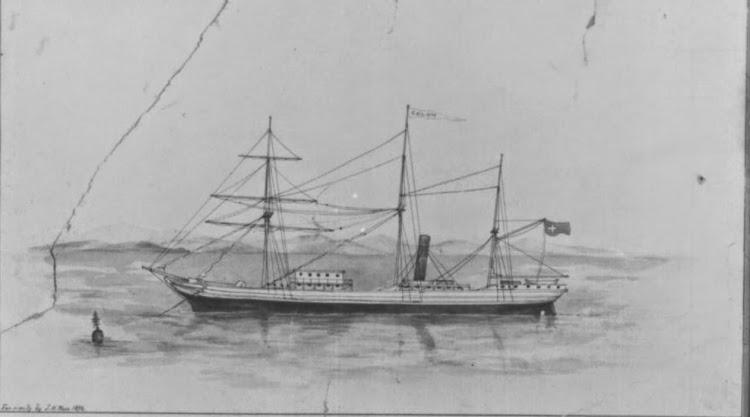 Vapor COLON. Grabado a mano de John Hugh Ross. Año 1858. Atencion de Public Archives of Canada.jpg