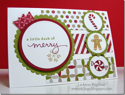 LeAnne Pugliese WeeInklings Merry Monday 110 Jolly Bingo Bits Christmas Card Stampin Up