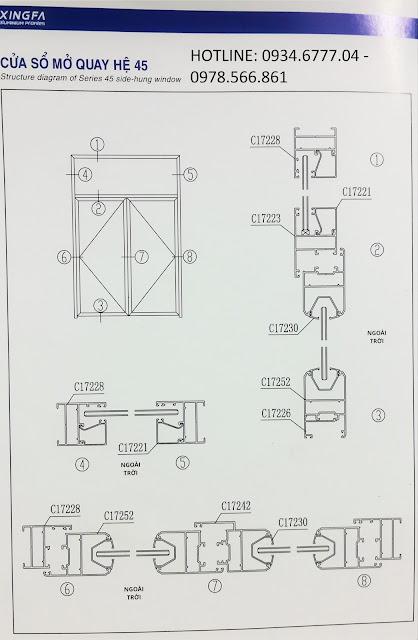 Kết cấu cửa sổ mở quay nhôm Xingfa hệ 45