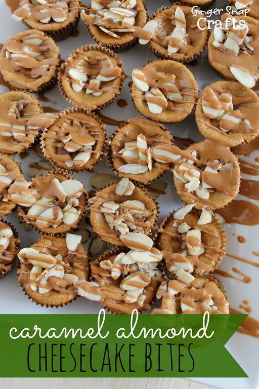 Caramel Almond Cheesecake Bites at GingerSnapCrafts.com #perfectpie #shop