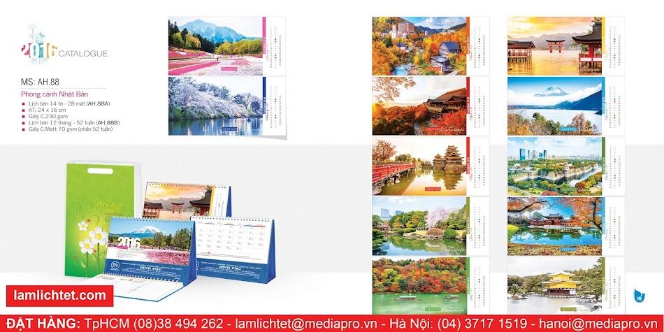 In Lịch Để Bàn Đẹp,TpHCM Hà Nội, Mẫu Lịch Bàn AH88 Phong Cảnh Nhật Bản