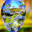 Lake View by Elfie Back - Artistic Objects Glass ( glass art, sphere, crystal, blue, orange. color,  )
