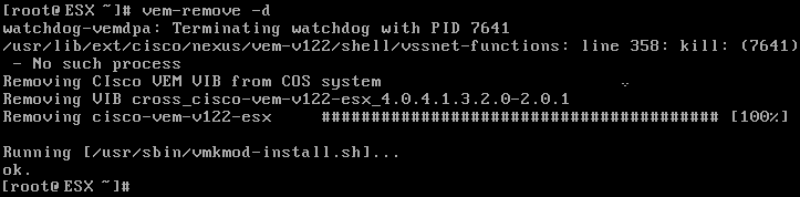 Removing the Cisco Nexus 1000V from the service console command line: vem-remove -d