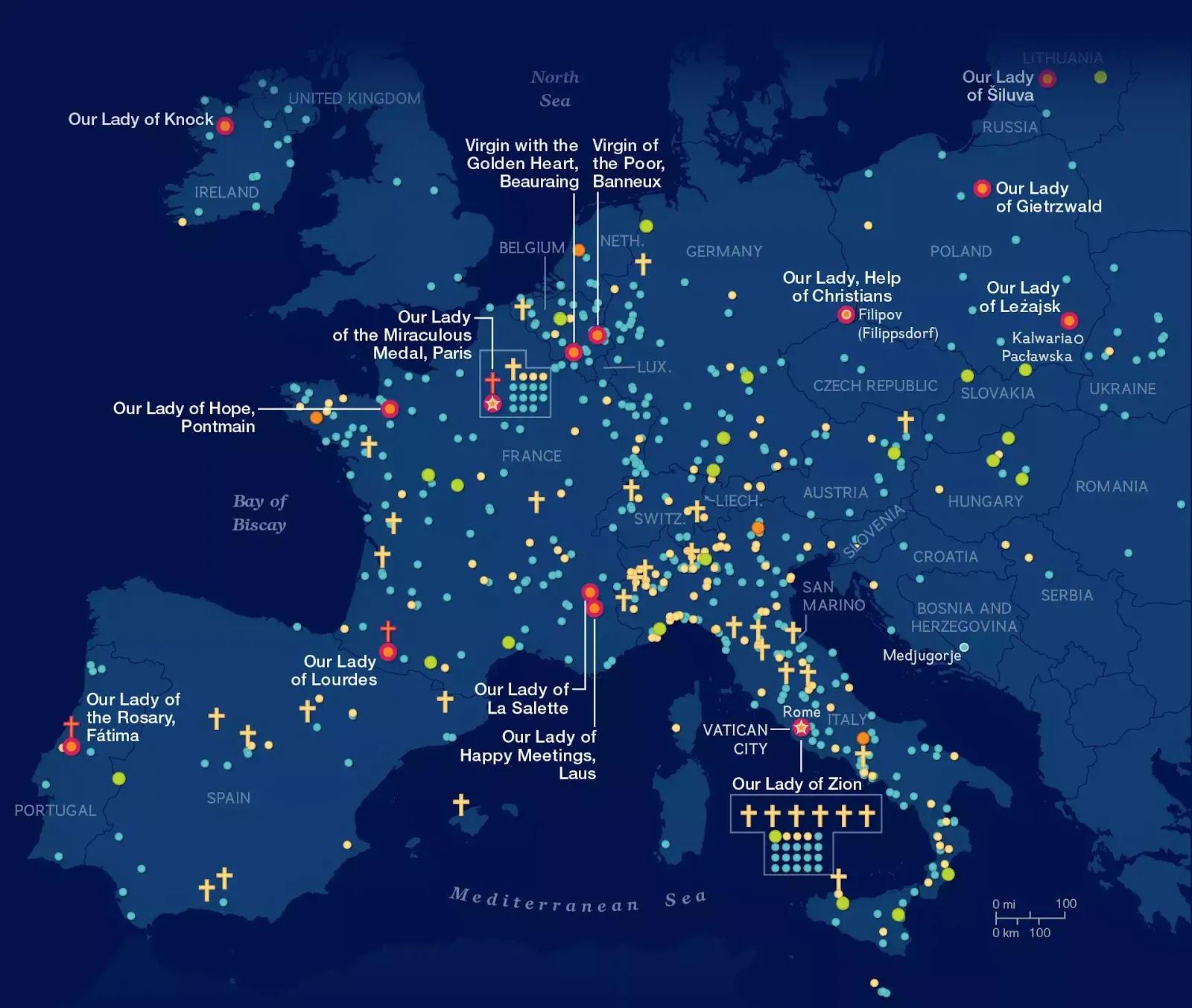 Về bản đồ minh hoạ 500 năm các cuộc hiện ra của Đức Mẹ