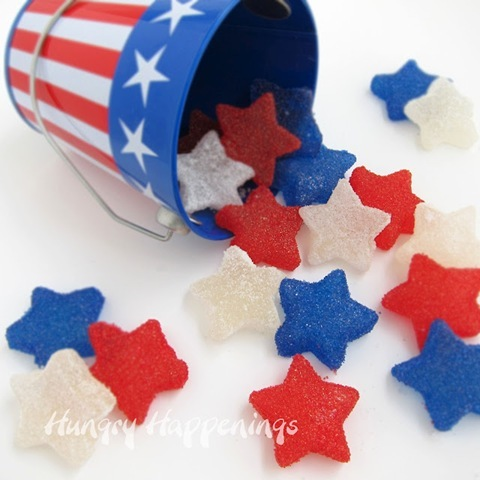 Star Spangled Gumdrops, Fourth of July Recipes, July 4th picnic food, treats, sweets, desserts, star shaped candy