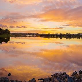 Yerrabi Pond by Peter Hoek - Landscapes Sunsets & Sunrises ( canberra, sunrise, pond, panorama )