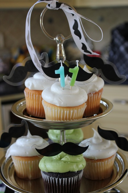 Mustache and Pool Party - 'Stache and Splash Mustache Cupcakes