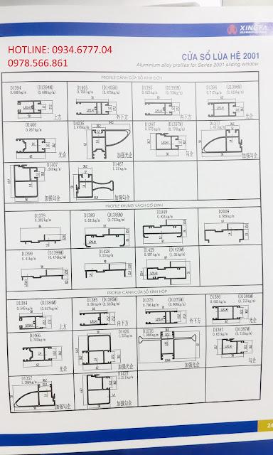 Mặt cắt nhôm Xingfa hệ 2001 (hệ cửa lùa)-01