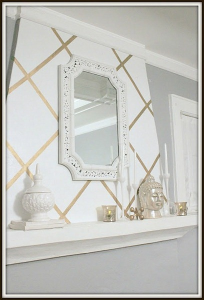 Metallic Gold Tape Wallpaper Mantel Design Fluff