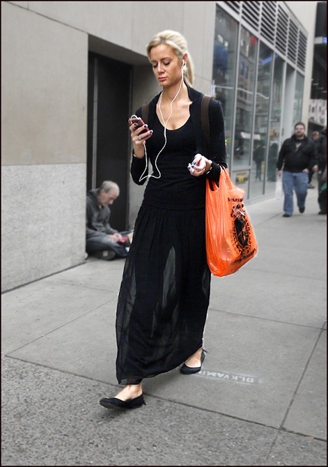 w all black see thru long skirt orange bag ol