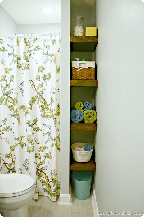 wood shelves in bathroom @ thriftydecorchick.com