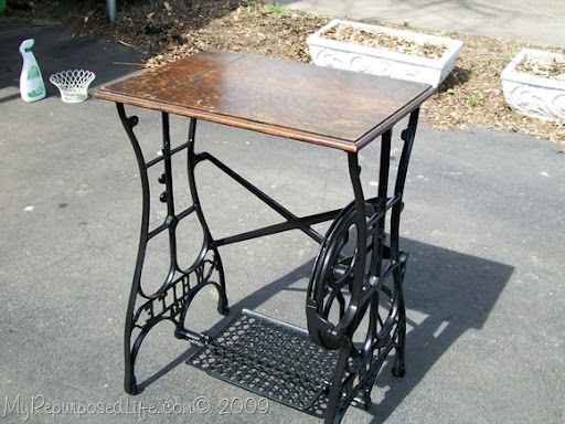 White Sewing Machine Trestle Table