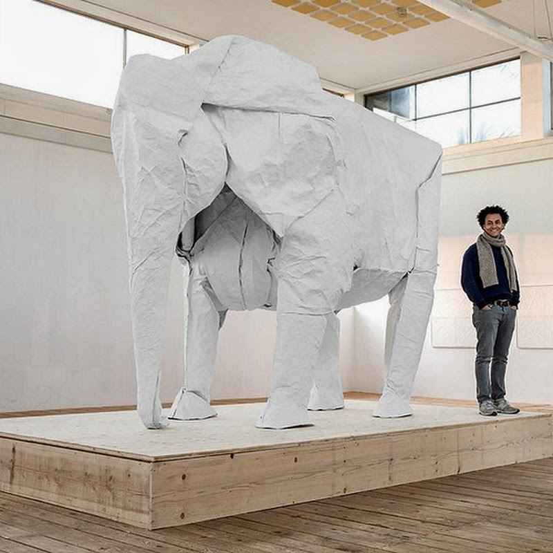 Life-Sized Elephant Created by Folding a Single Piece of Paper