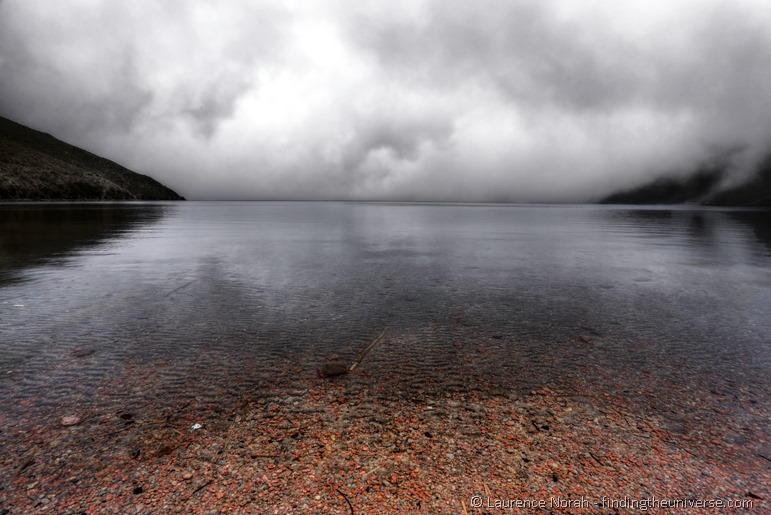 Cloudy lake Laguna de Mojanda near Otavalo Ecuador 2