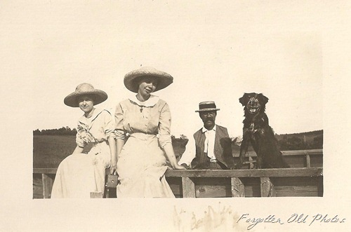 Postcard Ladies in hats Dog in a muzzle DL Antiques