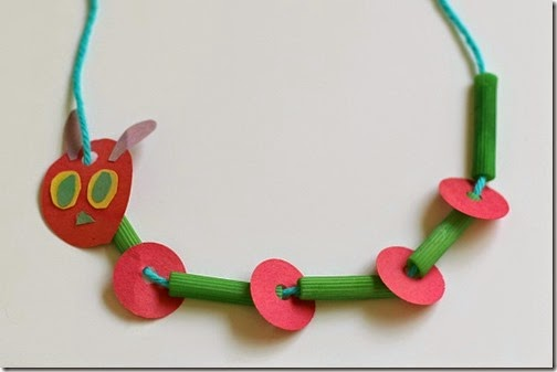 Very Hungry Caterpillar Pasta Necklace Craft