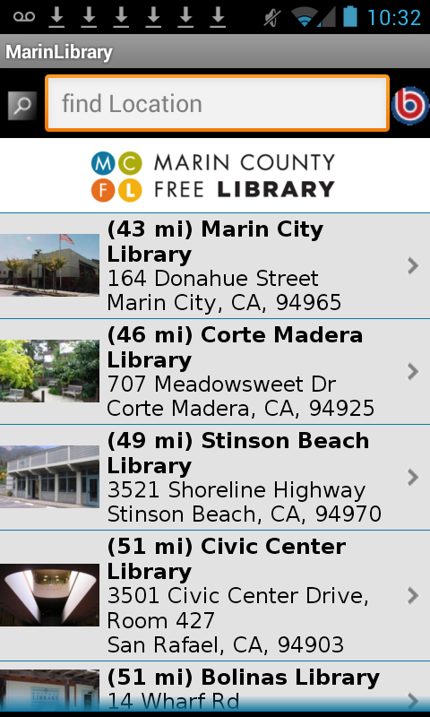 Marin County Free Library- screenshot