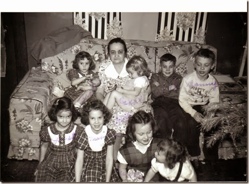 Tillie Kuhn Weber with eight grandchildren, about 1951.
