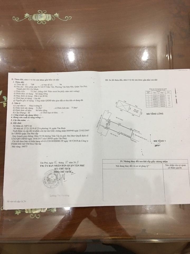 Bán nhà hẻm 91 Trần Tấn Quận Tân Phú, hẻm hai sẹc, diện tích 4m x 14m, nhà cấp 4, giá 3,85 tỷ.2