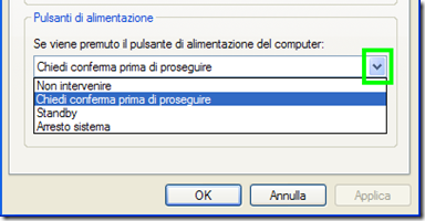 Pulsanti di alimentazione Windows XP