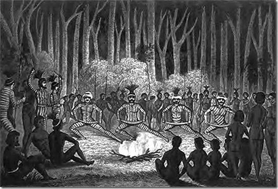 Dance-at-the-conclusion-of-the-Cawarra-(initiation) ceremonies, by Clement Hodgkinson, 1845.