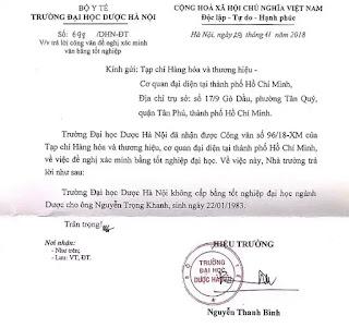 Trường Đại học Dược Hà Nội khẳng định không cấp bằng tốt nghiệp đại học ngành Dược cho ông Nguyễn Trọng Khanh (SN 22/01/1983).