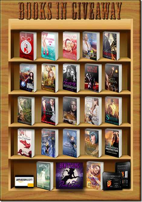 Bookshelf Giveaway 2014 Books-with kindle-card