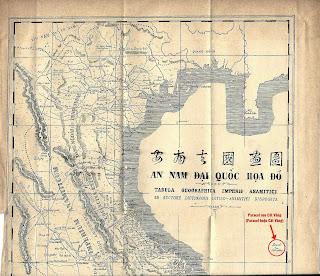 """Dòng chữ """"Paracel seu Cát Vàng"""" (Paracel hoặc Cát Vàng) trên tấm bản đồ. Paracels, hay Pracel, tức là Hoàng Sa - Cồn Vàng, thuộc về Cochinchina (tức Đàng Trong)""""."""