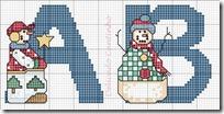 Abecedario muñecos nieve punto de cruz