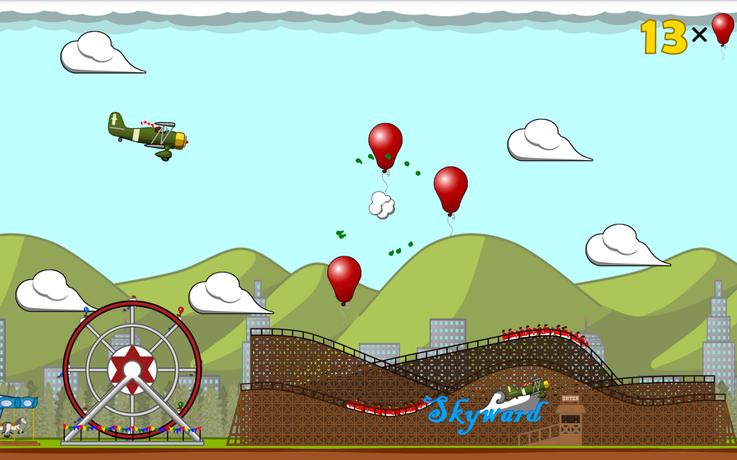 Pop balloons in Plane Popper!- screenshot