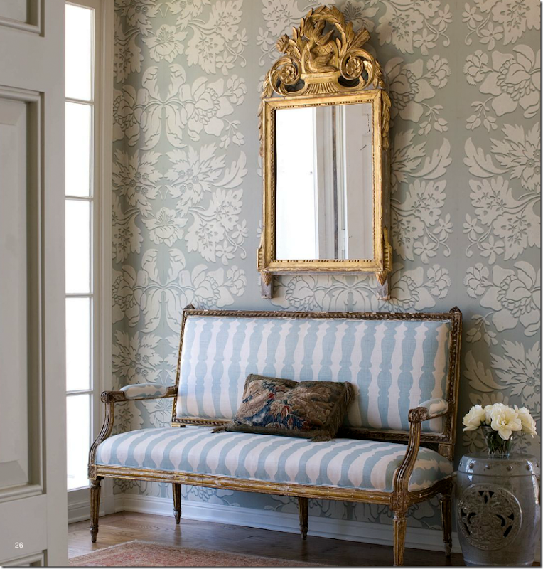 The Entry Has A Beautiful Aqua And White Overscaled Wallpaper With An Antique Mirror French Gilt Settee Nowthe Pictures On Web Site Are
