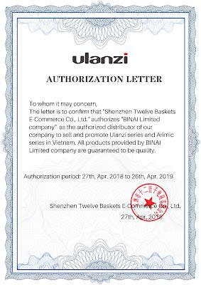 certificate of Ulanzi 05.2018