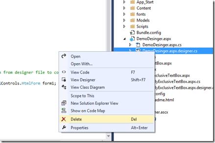 Dotnet Galaxy: How to re-create designer cs in Visual Studio