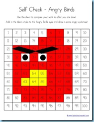 Angry Birds 100 Chart Coloring