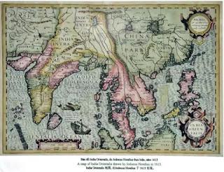 Trên bản đồ này, cả hai quần đảo Hoàng Sa và Trường Sa được vẽ nối liền với nhau, như hình một mũi dao và được đặt tên chung là Pracel.