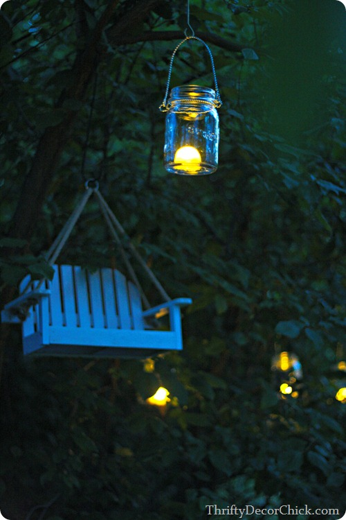 mason jar lights in trees