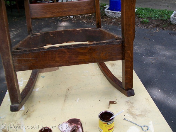 staining rocking chair