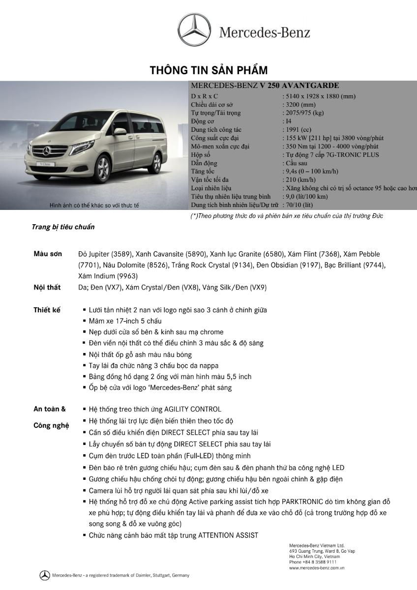 Thông số kỹ thuật xe Mercedes Benz V250 Avantgarde Máy Xăng màu trắng 01