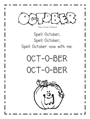 Growing Kinders October Calendar Songs And Vowel Chart