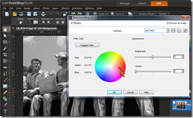 PaintShop Pro - Black & White Film tool