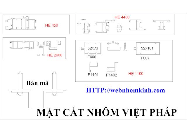 Mặt cắt nhôm Việt Pháp