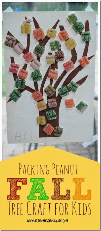 Packing Peanut Fall Tree Craft for Kids - this is such a fun to make project that would make a fun sensory activity as well as a stunning art project with texture and dimension. This fall craft for kids would be great for preschool, kindergarten, 1st grade, 2nd grade, and 3rd grade students.
