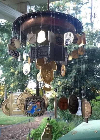 Turn race medals in to a wind chime - click for more creative ways to display medals