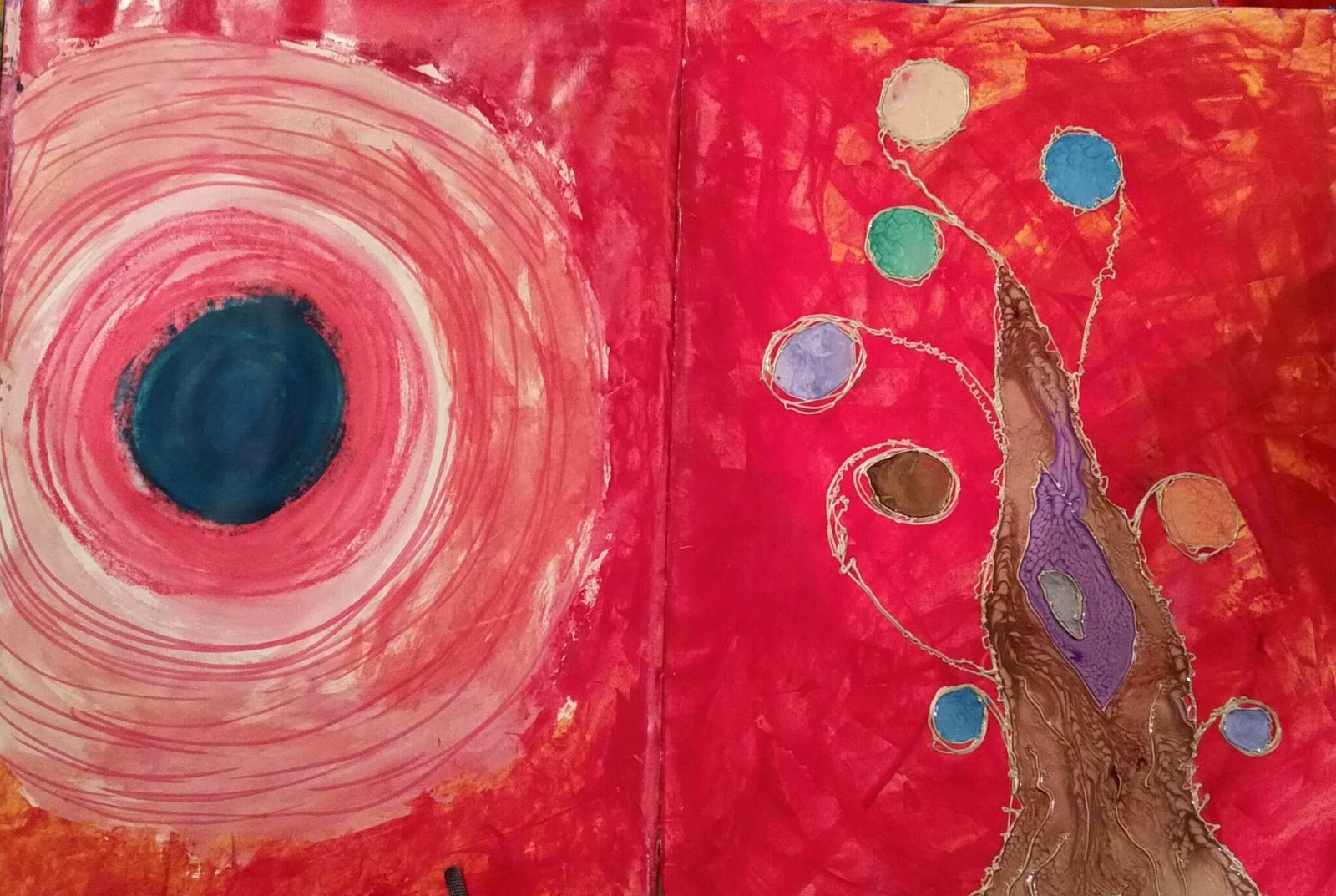 Experimenting With The Concept Using Pebeo Cerne Relief Dimensional Paint And Fantasy Paints In My Moleskin Mixed Media Painting Ideas Book