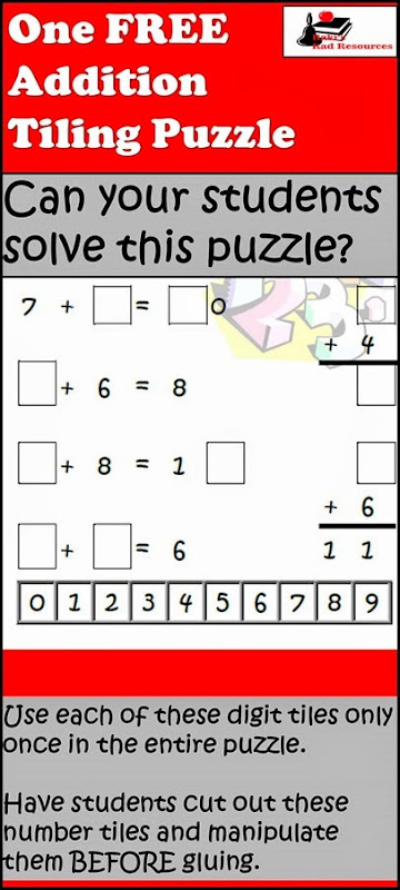 Tiling Puzzle - Addition - Free download from Raki's Rad Resources